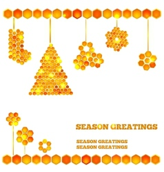 Holiday card with christmas honey icons vector image