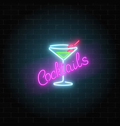 neon cocktails bar or cafe sign on dark brick vector image vector image