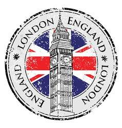 Rubber grunge stamp London Great Britain Big Ben vector image