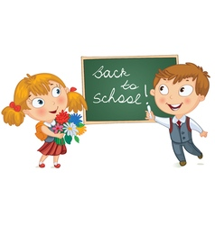 Young boy wrote in chalk on blackboard vector image vector image