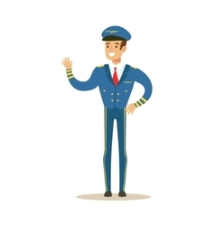 Commercial airlines pilot in uniform part of vector