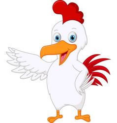 cute chicken cartoon presenting vector image