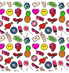 Fashion Background with Lips and Hearts vector image vector image