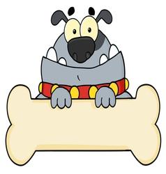 gray bulldog and bone sign vector image