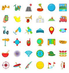 leisure sport icons set cartoon style vector image