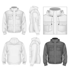 Mens flight jacket with hood vector image vector image
