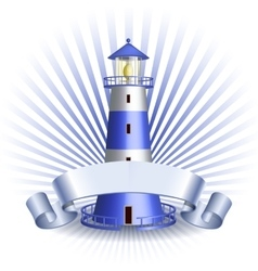 Nautical emblem with Blue lighthouse vector image vector image