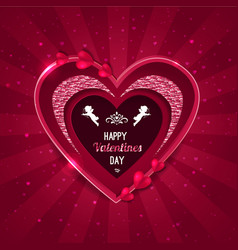 valentines day background heart shape and cupid vector image