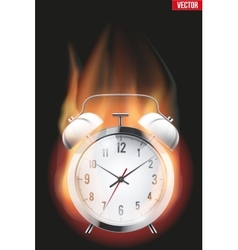 Burning alarm clock vector image vector image