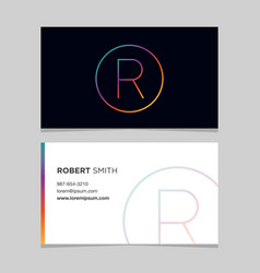 business-card-letter-r vector image vector image