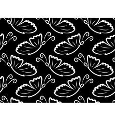 butterflies seamless pattern black and white vector image vector image