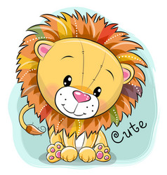 cartoon lion on a blue background vector image