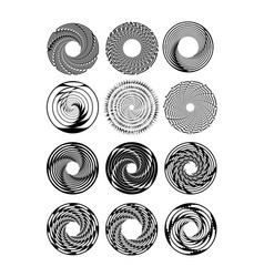 circle design shape set in monochrome drawing vector image