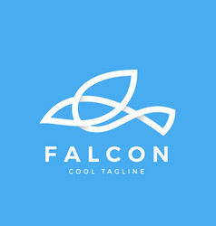 falcon bird line symbol with soft shadows vector image vector image