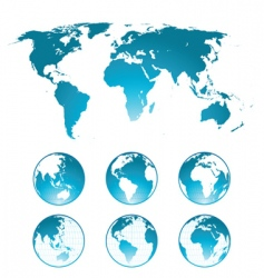 globes and world map vector image vector image