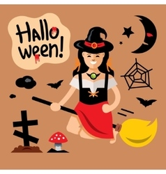 Halloween Witch on broomstick Cartoon vector image vector image