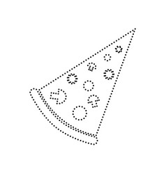 pizza simple sign black dotted icon on vector image