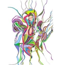 Surreal hand drawing girl dancing belly dance vector image