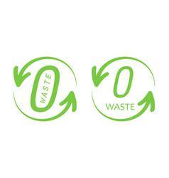 Zero waste trendy green logos signs symbols vector