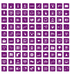100 on-line seminar icons set grunge purple vector