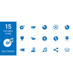 15 multimedia icons vector image