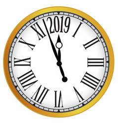 2019 new year gold classic clock vector image