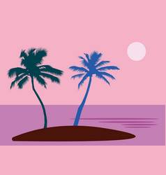 a tropical sea island with palm trees and sun a vector image