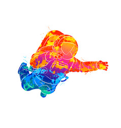 Abstract astronaut in space from splash vector