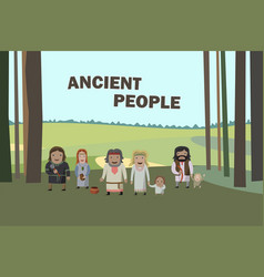 ancient people in national dress family dressed vector image