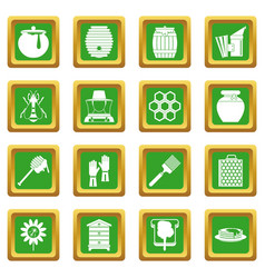 Apiary tools icons set green vector