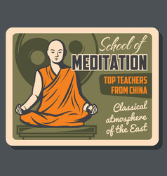 Asian monk buddhism meditation school vector