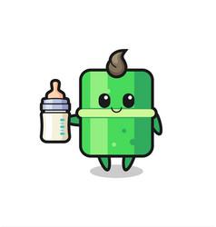 Baby bamboo cartoon character with milk bottle vector