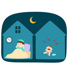 baby crying loudly at night vector image