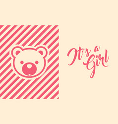 baby girl shower invite greeting card vector image
