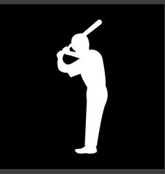Ballplayer it is the white color icon vector