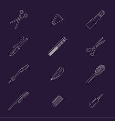 barber tools icons set vector image