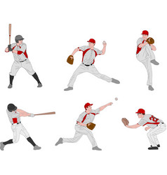 baseball players detailed color vector image