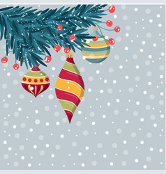 beautiful christmas catd with fir branches and vector image