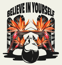 believe in yourself hand drawn placard vector image