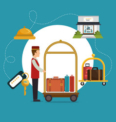 Bellboy working in the hotel character vector