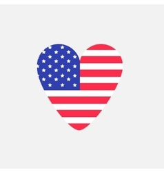 Big heart shape american flag Star and strip icon vector