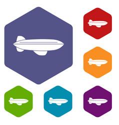 Blimp aircraft flying icons set hexagon vector