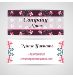 Business Card Doodle Flowers vector