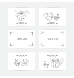 Business card set with tea service icons Doodle vector