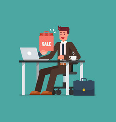 business man shopping online on a laptop vector image