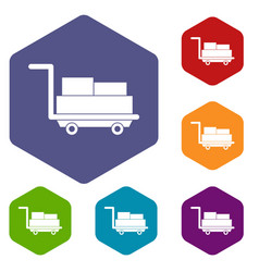 Cart with luggage icons set hexagon vector