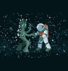 cartoon alien meeting and handshake in space on vector image