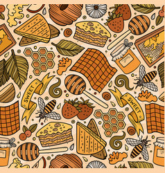 cartoon cute honey seamless pattern vector image