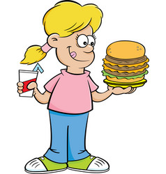 Cartoon girl holding a large hamburger and a drink vector