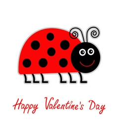 Cartoon red lady bug Happy Valentines Day vector